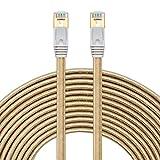 Netzwerkkabel 15m,SNANSHI Ethernet Kabel 15m Cat7 Gigabit Lan Netzwerkkabel RJ45 10Gbps 600Mhz/s STP Molded Verlegekabel Nylongeflecht für Switch/Router/Modem/Patchpannel/Access Point/Patchfelder
