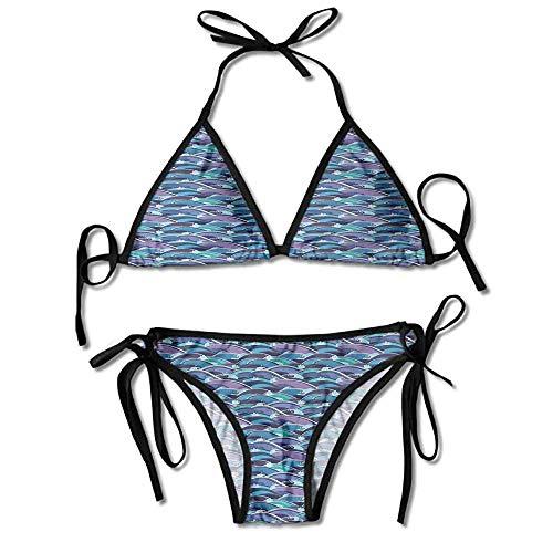 Custom Pattern Moroccan Moon V Band Hipster Bikini Bottom Swimsuit for Women - Band Hipster Bikini Bottoms