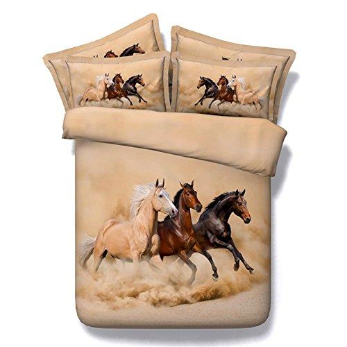 ktlrr Pferd Bettbezug Set Single Größe, 3D Digital Printing Transparent Pferde laufen in der Nacht mit Mond Stern auf dem Schwarzen Hintergrund, 3-teiliges Bettwäsche-Set mit 2Stück kissenrollen keine Tröster, baumwolle, Horse 2, Full(88'x78
