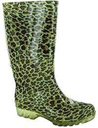 Cotswold Ladies Patterned Pull On PVC Long Welly Wellington Black