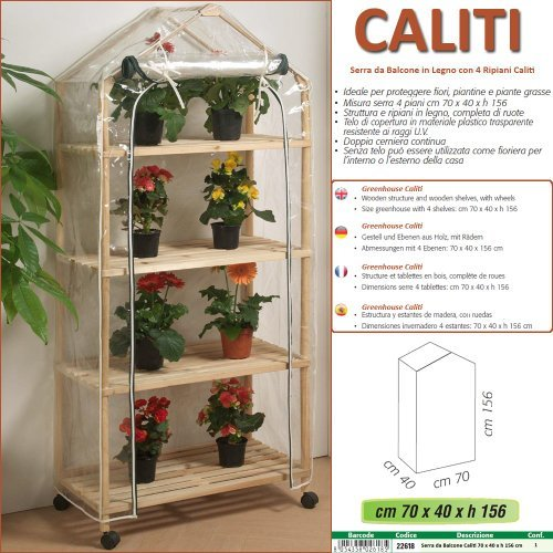 Betty Garden Serra NEW da Balcone in Legno a 4 Ripiani Caliti ...