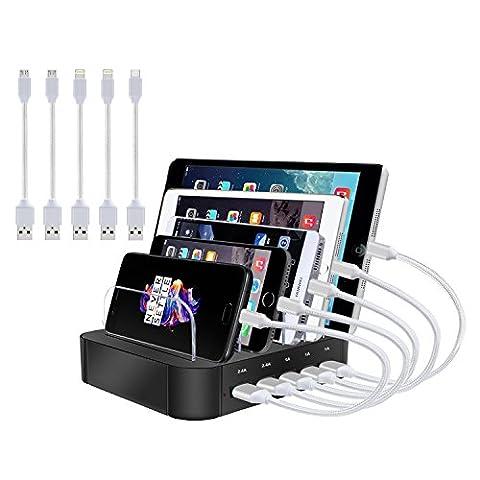 Multi Port USB Station de chargement, topoint 5Dock, Station d'accueil de charge Chargeur mehrfachen Appareils Bureau avec 2Lighting Câble, 3Câble USB/baffles amovible pour iPhone/iPad/Smart
