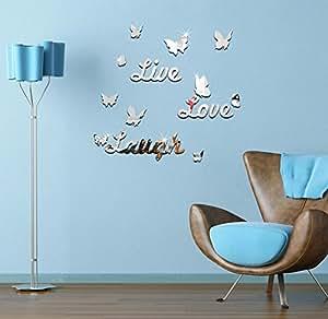Extsud adesivo murales carta da pareti live love laugh for Specchio da parete camera amazon
