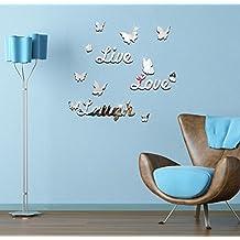 Extsud® Adesivo Murales Carta da Pareti Live Love Laugh Farfalle, Wall Stickers a Specchio, Decorazione da Parete per Casa Ufficio Stanza Camera da Letto Ristorante Hotel Fai da Te (Argento)