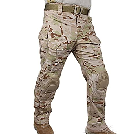 Tactical Army Military Shooting BDU Men Gen3 G3 Combat Pants Trousers with Knee Pads for Airsoft Paintball Multicam Arid (L (34))