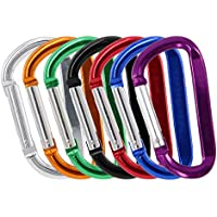 Gisdanchz Mini Carabiner, Aluminium Spring Alloy Clips Hiking Chain Rope Small Mini Carabiner D-Ring Large D Pushchair Rings for Bags Key Ring Hooks Quickdraw Karabiner Key Holder 7 Color