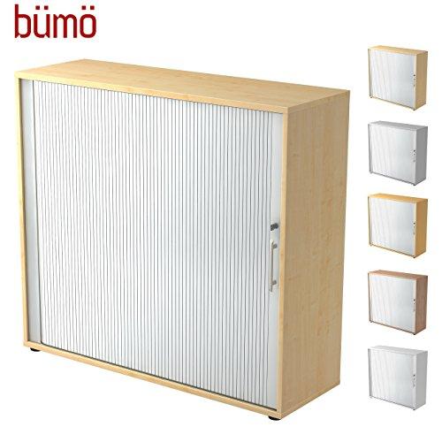 Bümö® Aktenschrank mit Rollladen | Rollladenschrank für Aktenordner | Büroschrank für Akten | Profi Büromöbel | Rolladenschrank in 5 Farben & 2 Höhen (ahorn/silber, Höhe: 110 cm) -