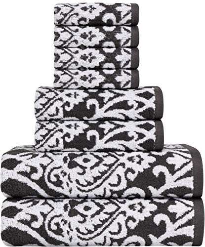 Utopia Towels - Ensemble de Serviettes de Bain Jacquard Damas 8 pièces
