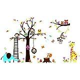 Pegatina de pared vinilo adhesivo decorativo para cuartos, dormitorio,cocina,sala de estar ... Arbol y Animales en el ZOO jirafa, elefante, mono, buho... colorido y divertido para niños de OPEN BUY