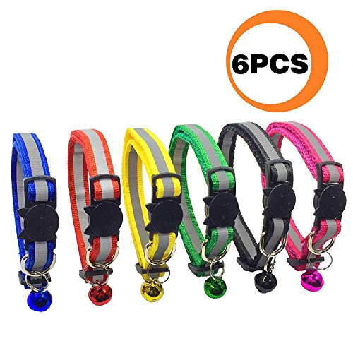 Rabi 6 Pcs Breakaway Cat Collar with Reflective Nylon Strip and Bell, Safe and Durable