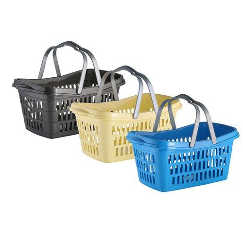 axentia Wäschekorb mit Henkel - Wäschesammler eckig - Wäschewanne Kunststoff - Wäschekiste stapelbar & stabil - Wäschetragekorb Plastik, 35 l in Blau, Braun & Grün