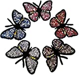 Iron on Bügel Aufnäher Bügelbilder Patches für Jacken Cap Hosen Jeans Kleidung Stoff Kleider Sticker Applikation Strass Schmetterling Kleidung Kinder Schmetterlinge 10 cm 5 Stück in 5 Farben