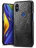 SLEO Hülle für Xiaomi Mi Mix 3 Krokoprägung Lederhülle Ultradünn - Optimaler Schutz und Edles Design Handyhülle Case für Xiaomi Mi Mix 3 Hülle - Schwarz