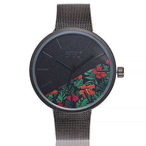 Uhren DELLIN Uhren Damen Beiläufige Stahlstreifen Quarz Edelstahl-Band-Marmorband-Uhr-analoge Armbanduhr (E)