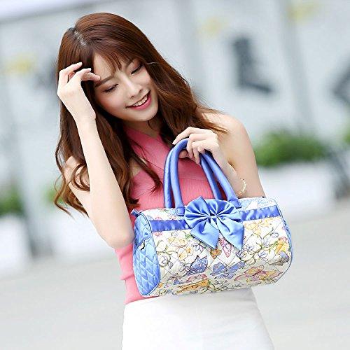 Medium Boston Handtasche (CJshop Marke Zähler Bangkok Tasche Handtasche Boston Drum Bag Bag's Neue Frauen Drum gewickelt, Medium Blue Butterfly)