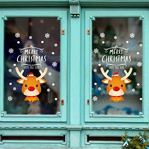 Alikeey adesivi per porte di renna a due lati del fumetto adesivi murali in vetro per vetrine di negozio di vetrine di natale