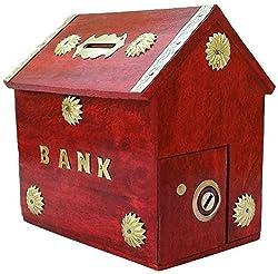 Aafiya Handicrafts Premium Quality Wooden Handmade Money Bank Hut Shaped