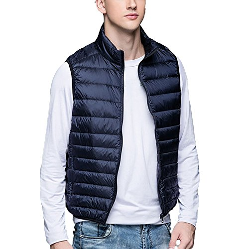 Zhuhaitf Fashion Casual Mens Simple Packable Down Vests Outerwear Stand Collar Zip Up Front Vests Navy blue
