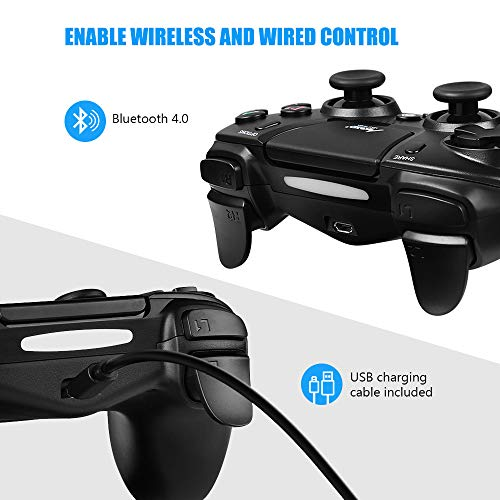 Mad Giga mando con Pantalla tácti Bluetooth 4.0 Wireless Gamepad Alámbrico/Inalámbrico, Playstation 4 compatible con PS3, PS4 Y PC