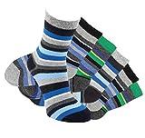 Laake 6 Paar Jungen Socken handgekettelt Spitze ohne Naht aus besonders weicher Baumwolle Ringelsocken (23-26)