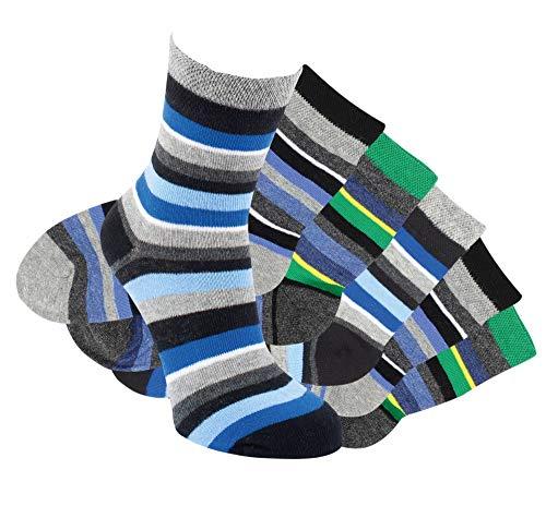 Laake 6 Paar Jungen Socken handgekettelt Spitze ohne Naht aus Besonders Weicher Baumwolle Ringelsocken (31-34)