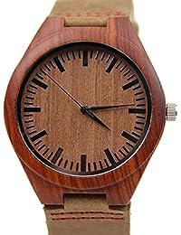 Malloom®Nueva llegada moda bambú de madera cuero de la PU relojes lujo hombres regalo (estilo 3)
