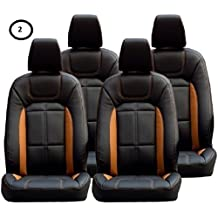 Khushal Leatherite Car Seat Cover For Renault Kwid Ks057Rkwid Black/Orange With Free Steering Cover