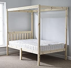Four Poster Bed - 4ft 6 double solid natural pine 4 poster bed frame - Extra wide base slats with centre rail