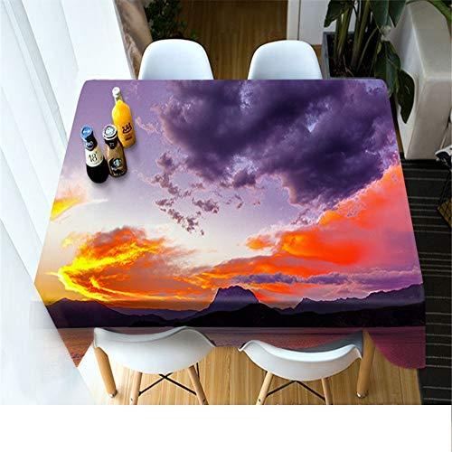 QWEASDZX Tischdecke Stilvolle Einfachheit 3D Digitaldruck Dekorative Tischdecke Stoff Polyester Wasserdicht Staubdicht Rechteckige Tischdecke Geeignet Für Innen Und Außen 134x183 cm