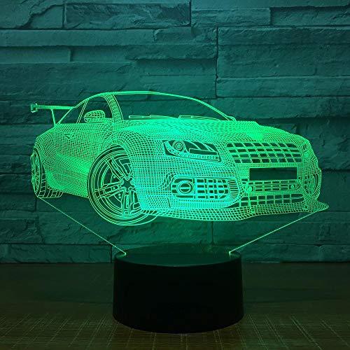 3D Illusion Lampe Auto LED Nachtlicht, USB-Stromversorgung 7 Farben Blinken Berührungsschalter Schlafzimmer Schreibtischlampe für Kinder Weihnachts geschenk - C6 Mit Blauem Led-licht