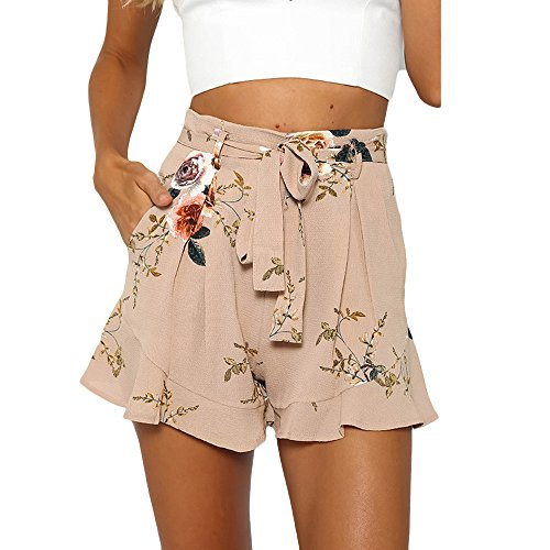 Qmber Pailletten Shorts Damen Sommer Shiny Hotpants Metallic Locker Hohe Taille Yoga Sport Shorts Weit geschnittene Shorts mit Rüschen/Khaki,XL