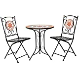 Charles Bentley Terracotta Mosaico 2 posti Bistro set patio Mobili da giardino all'aperto - Orange & Blu