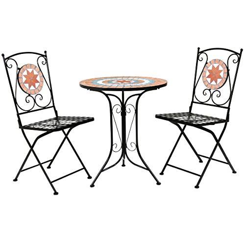 Charles Bentley Terracotta Mosaic 2 Seater Bistro Set Patio Garden Outdoor Furniture - Orange & Blue