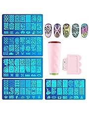 Fameza 1pcs Nail Stamping Plate + 1 Stamper + 1 Scraper Lace Flower Animal Pattern Nail Art Stamp Stamping Template Image Plate Nail Art Stamper Scraper Nails Tool