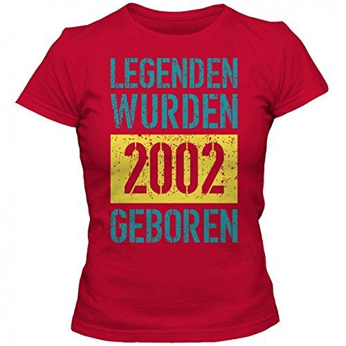 Legenden 2002 #1 T-Shirt   Jahrgang 2002   Geschenkidee   15. Geburtstag   Frauen   Shirt © Shirt Happenz Rot (Red L191)