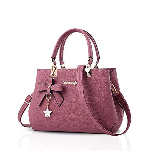 NICOLE&DORIS Bowknot Frauen Handtasche Crossbody Schultertasche Wasserdicht PU Rosa Rosa