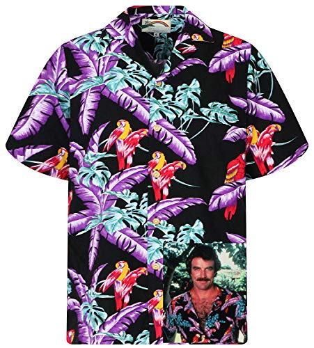 Herren Kostüm Gonzo - Tom Selleck Original Hawaiihemd, Kurzarm, Jungle Bird, Schwarz, L