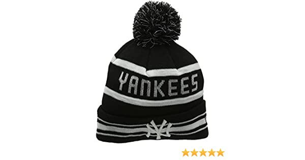 NY Yankiees Beanie Hat Black//Grey Stripe Mens