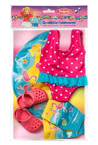 Heless 88 Schwimmset für Puppen, Badeanzug, Clogs, Schwimmring und -flügel, Größe 35 x 45 cm - Französisch Bikini-badeanzug