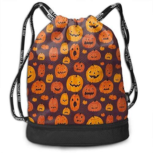 Multifunctional Bundle Backpack - Cute Halloween Pumpkin Graphics 3D Print Drawstring Backpack - Portable Shoulder Bags Travel Sport Gym Bag - Yoga Runner Daypack Shoe Bags