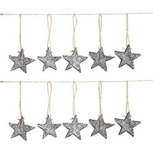 10stelle in legno grigio shabby chic vintage decorazioni del pendente gioielli (stelle, senza filo, 7cm) come un albero di natale o decorazione a natale