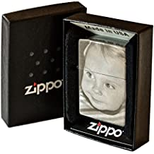 Original Zippo Feuerzeug mit BEIDSEITIGER Wunsch Gravur Fotogravur chrom brushed matt