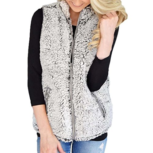 VENMO Damen Weste Winter Warm Outwear Lässig Faux Fur Zip Up Sherpa Jacke Strickpullover Tops vintage Damen shirts Weste Elegant Warm...