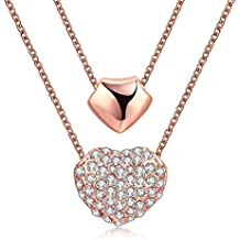 """Double Love Heart Layered collana """"Just Love"""" Birthday Christmas Gift for Mon Girl Friend valentines Day Gift"""