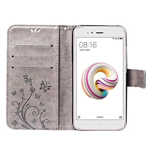 Xiaomi Mi A1 Funda Gris, Leathlux Libro Suave PU Leather Cuero Cierre...