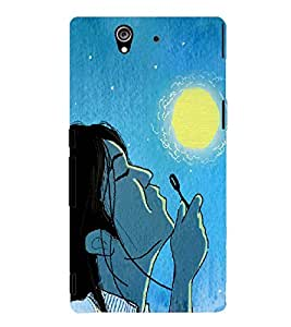 PRINTSWAG GIRL WITH MOON Designer Back Cover Case for SONY XPERIA Z