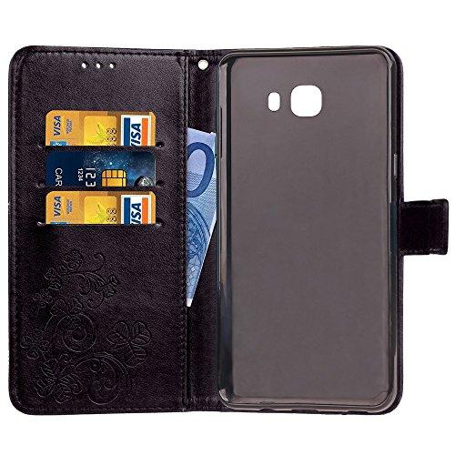 EKINHUI Case Cover Doppelter magnetischer rückseitiger Sucktion Retro Art PU-lederner Schlag-Standplatz-Fall mit Kickstand und Mappen-Beutel-Funktion für Samsung-Galaxie C9 ( Color : Blue ) Black