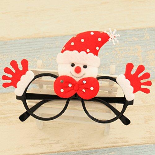 Blog Und Mode Kostüm (Duang® Weihnachtsfeier Brillen Lustige Rentier Weihnachtsmütze Schneemann und kleine Bär Dekorative Gläser Geschenke für Erwachsene und Kinder (Schwarz)