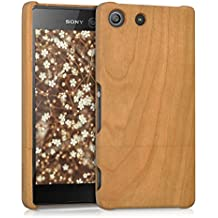 kwmobile Estuche de madera natural para el Sony Xperia M5 en madera de cerezo marrón claro