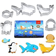 Youkee multiuso Cookie cutter set – 5 pezzi – food grade stainless steel marine Life Shape Biscuit sandwich frutta pane (Divertimento Cookie Cutters)